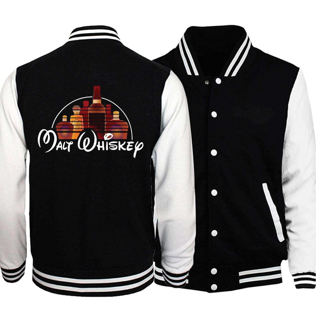 Malt Whisky Baseball Men Jackets Coats 2019 Winter Autumn Fleece Warm White Black Loose Sportswear Bomber Streetwear Plus Size