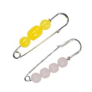 Broche perla simulada con cuentas grandes para hombre y mujer, Pin de bambú Natural Vintage, hebilla de Metal en forma de U, broche para ropa