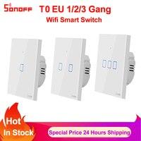 Sonoff Tx T0 Eu 1 2 3 Bende Smart Wifi Schakelaar Smart Home Afstandsbediening Muur Touch Light Switch Werkt met Alexa Google Thuis