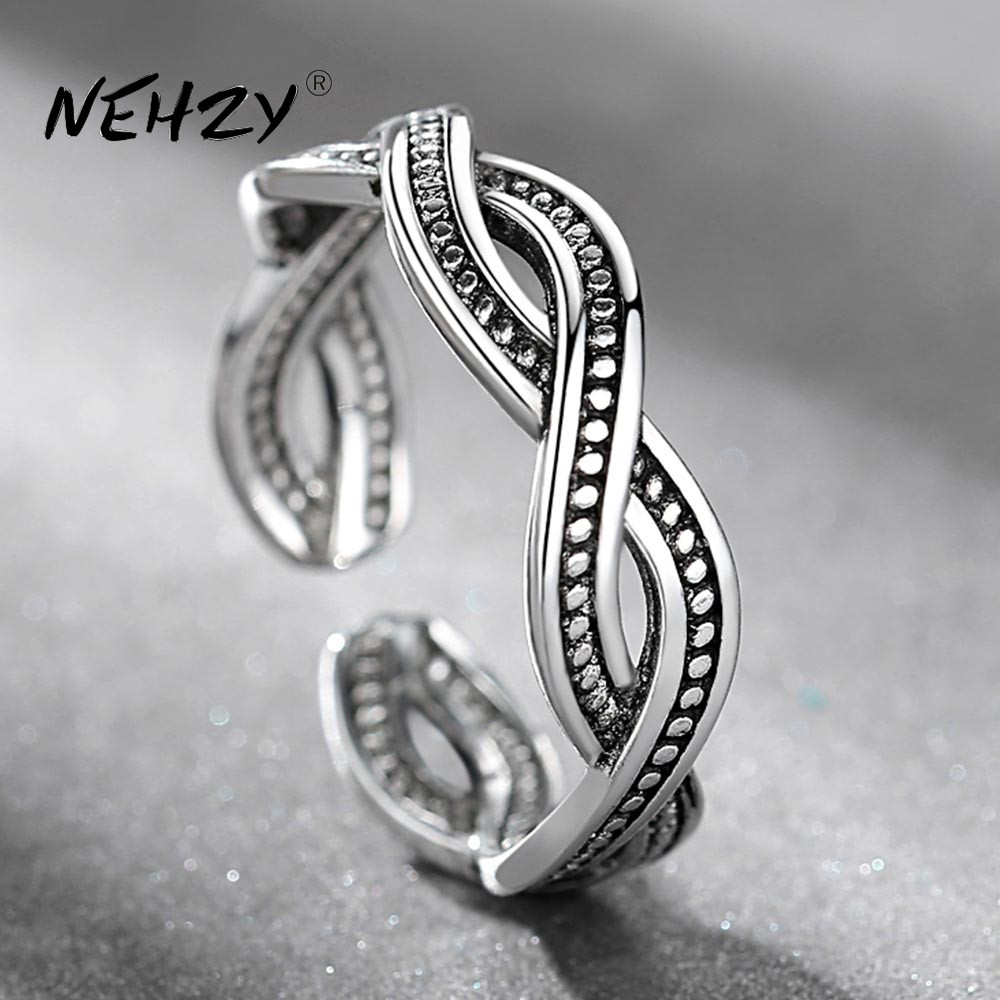 NEHZY 925 sterling silver ring fashion woman jewelry retro simple Thai silver adjustable hollow original hot sale new ring
