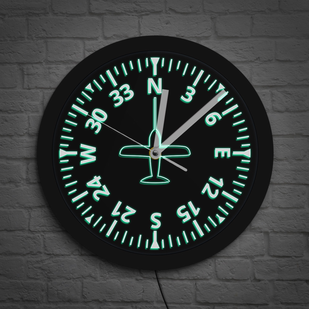 Airplane Control Color Changing Wall Light Aircraft Gauges Cockpit Instruments Aviation Pilot Wall Clock With LED Backlight Saat