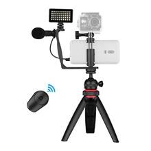 Telefon Video Vlog Kit mit Ball Kopf Stativ Mikrofon LED Licht Telefon Klemme für Smartphone Action Kamera DSLR Spiegellose Kamera