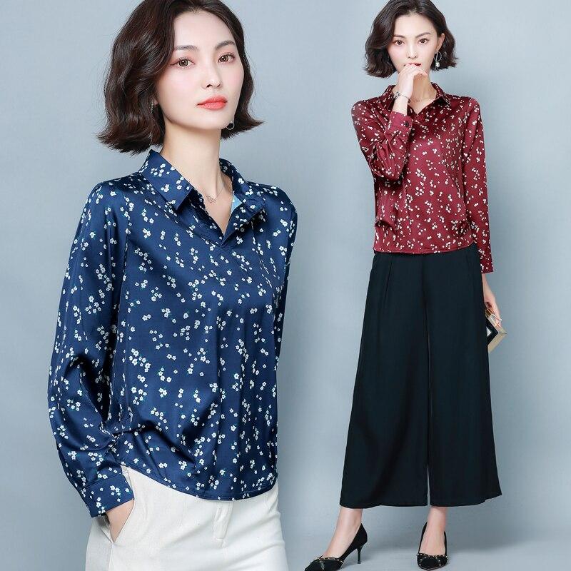 Korean Fashion Silk Blouses Women Satin Blouse Shirt Plus Size Woman Long Sleeve Print Shirt 4XL/5XL Blusas Mujer De Moda 2020