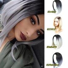 Mumupi 스트레이트 브라운 블랙 핑크 그레이 가발 13 색 합성 머리 패션 롱 밥 가발 여성을위한 고품질 ombre 색상 판매