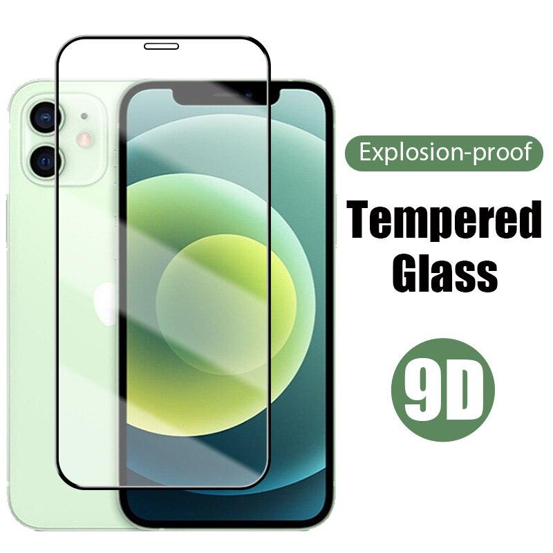 Защитное стекло 9D для iPhone 11, 12 Pro, XR, Max, X, XS, Mini, Защитное стекло для iPhone 6, 6S, 7, 8 Plus, iPhone SE 2020