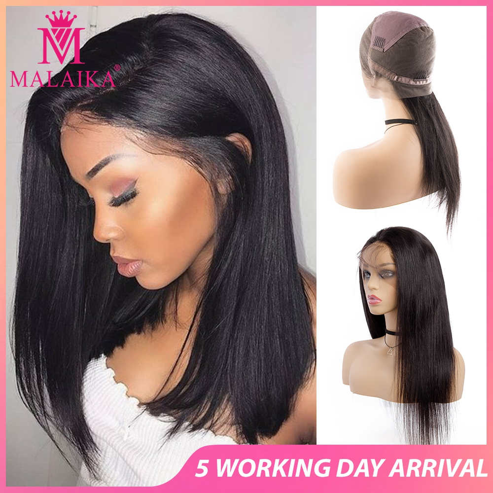 MALAIKA Christmas Pre Plucked Full Lace Human Hair Wigs For Black Women Brazilian Straight Wig Natural Hair 130% Density