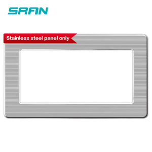 SRAN Blank panel with Installing iron plate 146mm*86mm silver brushed stainless steel switch socket panel