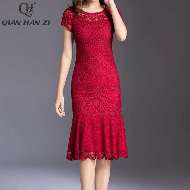 Qian Han Zi plus size summer fashion runway dress Women embroidered applique slim bodycon dress Ruffle party mermaid dress