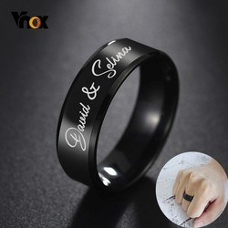 Vnox Customize Name Rings for Men Women Glossy Black Stainless Steel Classic Wedding Band Casual Basic Alliance Personalize Gift