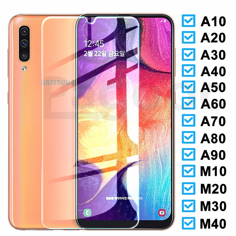 9H Glass On The For Samsung Galaxy A10 A20 A30 A40 A50 A20E A30S A40S A50S M10 M20 M30 Screen Protector Tempered Glass Film Case