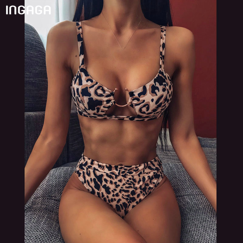 INGAGA High Waist Bikini 2020 Push Up Swimsuit Leopard Swimwear Women Brazilian Bikini Set Biquini Sexy Bathing Suit Women 3