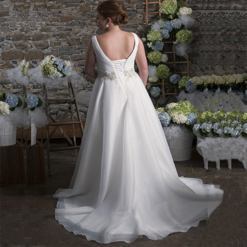 Elegant Plus Size Wedding Dress V-neck Sleeveless Beading Pearls Organza A Line Backless Bridal Gowns Wedding Dresses