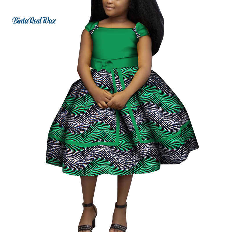 Beautiful Africa Prints Girl Dress with bow at the back and a head bow