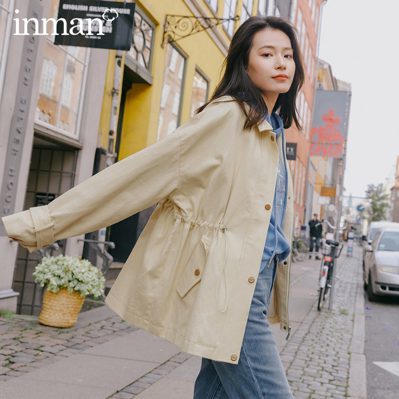 INMAN 2020 Spring New Arrival Literary Lapel Drawstring Waist Single-breasted Long Lleeve Wind Coat