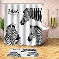 Зебра  занавески для душа  водостойкие занавески для ванной  для ванной  для купания  очень большие  широкие  12 шт.  крючки