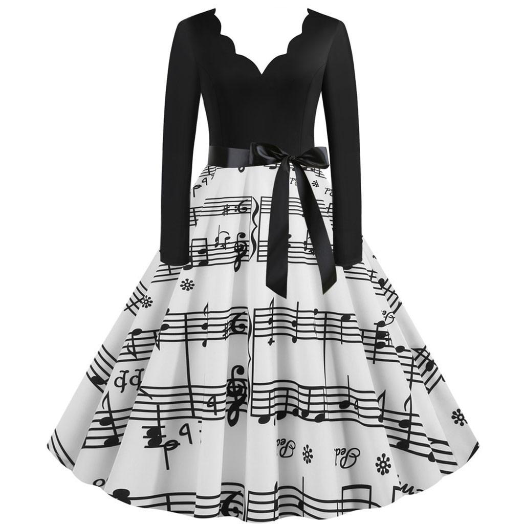Music Note Print Elegant Party Dress Women 50s 60s Retro Vintage Robe Rockabilly Dresses Plus Size Casual Midi Dresses#4