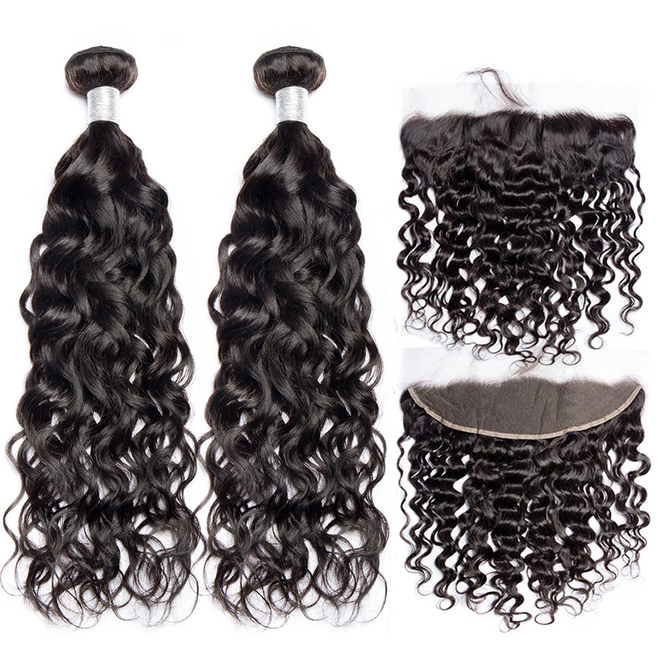 ALIBELE Water Wave Bundles With Frontal Closure Remy Human Hair Lace Frontal Closure With Brazilian Hair Weave 3 Bundles