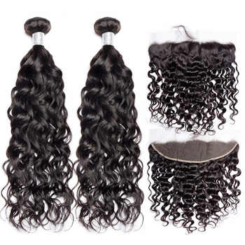 ALIBELE Water Wave Bundles With Frontal Closure Remy Human Hair Lace Frontal Closure With Brazilian Hair Weave 3 Bundles - DISCOUNT ITEM  50% OFF All Category