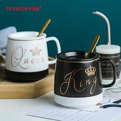 Zarys w złotym kubek ceramiczny z łyżeczka w pokrywce  kubek kotek ceramika do kawy kubki kubek biurowy do biura do napojów kubek dla par prezent w Kubki od Dom i ogród na