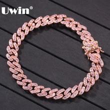 UWIN Bracelet à maillons cubains couleur or Rose, bijou en zircone cubique glacé, 9mm, bijoux hip hop à la mode pour hommes et femmes