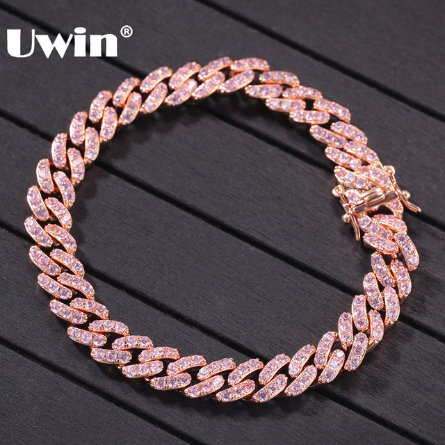 UWIN Rose Gold Color Cuban Link Bracelet 9mm Iced Out Pink Cubic Zirconia Men Women Bracelets Fashion Hiphop Jewelry