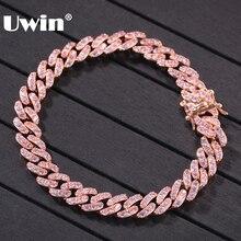 UWIN Rose Gold สีสร้อยข้อมือ Cuban Link สร้อยข้อมือ 9 มม.Iced OUT Pink Cubic Zirconia ผู้ชายผู้หญิงสร้อยข้อมือแฟชั่นเครื่องประดับ HIPHOP