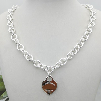 1: 1 Sterling Silver 925 Classic Fashion Silver Heart Pendant Necklace Holiday Gift