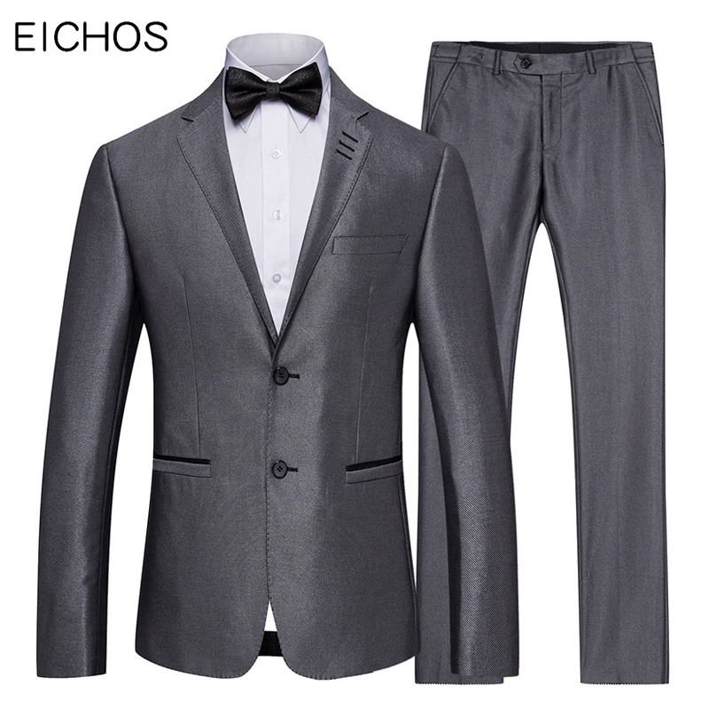 Mens Wedding Suits Solid Color 2 Pieces Set Grey Tuxedo Jacket And Pants Slim Fit Groom Suit Styles High Quality Famous Brand