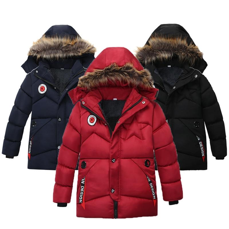 Autumn Winter Boys Jacket Keep Warm Cotton Thicken Kids Jacket Fur Collar Solid Color Zipper Boys Outerwear Children