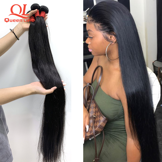 Queenlife 28 30 32 34 36 38 40 pulgada cabello liso mechones de cabello peruano mechones Remy armadura del pelo humano pelo sedoso 1/3/4 piezas