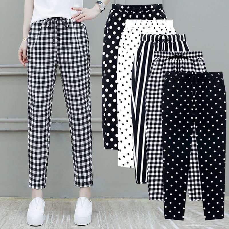 2020 Summer New Women Trousers Plus Size 4XL Female Capris Plaid Ankle-Length Pants Casual Dot Pants Drawstring Striped Pant G