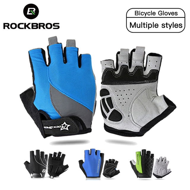 Rockbros ciclismo luvas de bicicleta suor design metade dedo luvas para homem e mulher bicicleta equitação esportes ao ar livre gel almofada luvas 1