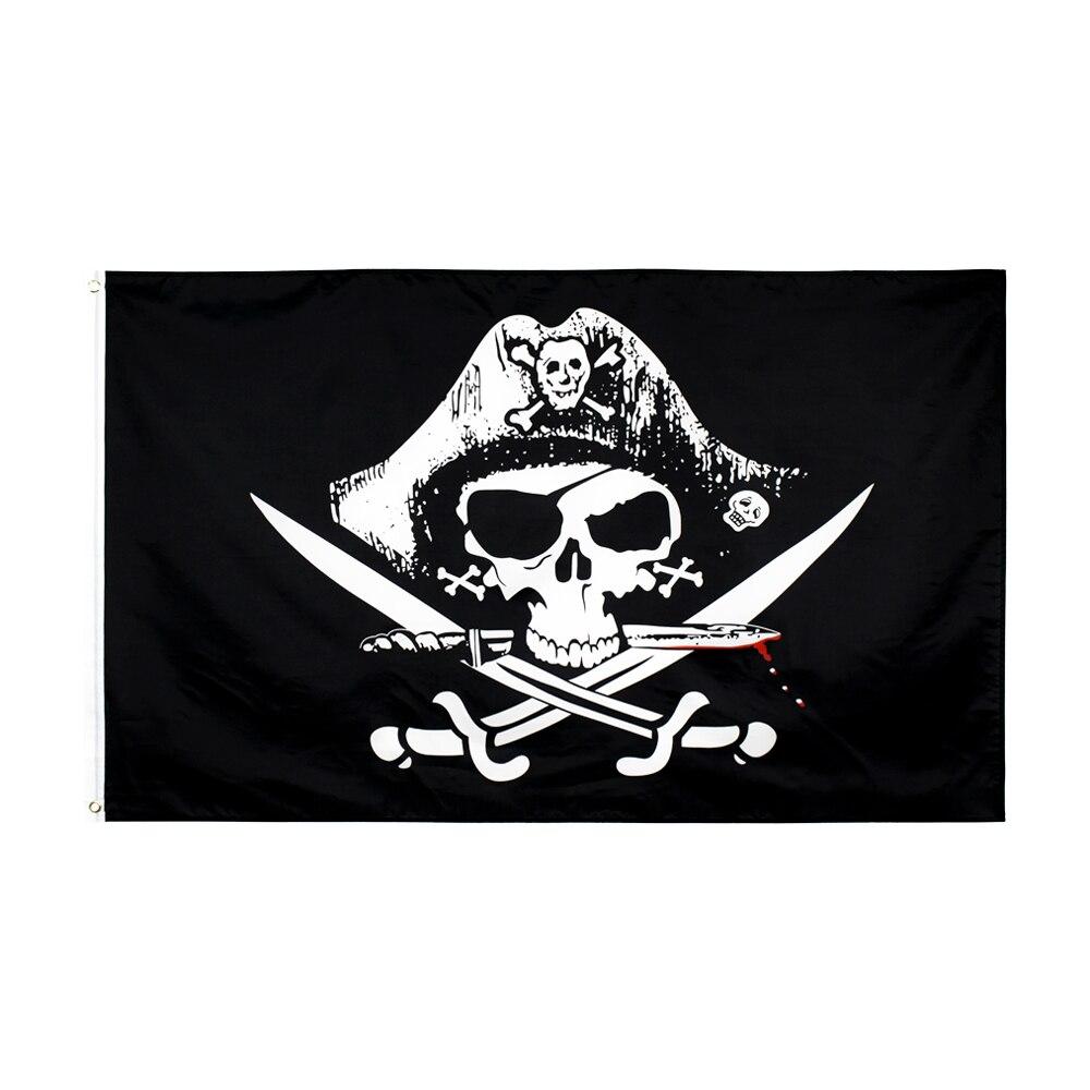 Johnin 90*150cm Skull And Cross Crossbones Sabres Swords Jolly Roger Pirate Dead Man's Chest Flags For Decoration