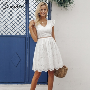 Image 3 - Simplee Sexy white women summer dress 2019 Backless v neck ruffle cotton lace dress Vintage holiday beach short female vestidos