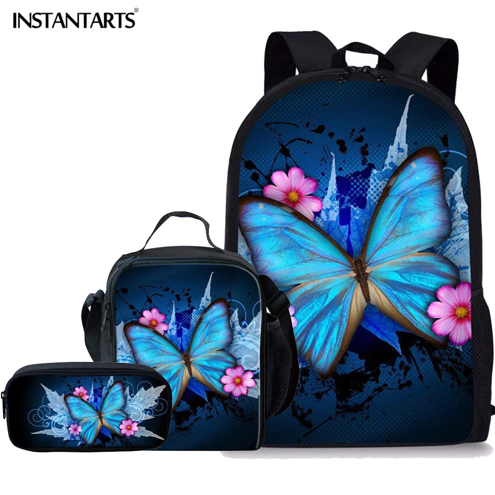 INSTANTARTS 3D Colorful Butterfly Print Book Bags Pretty Animal Travel Backpack Teenage Girls School Bag Primary Student Mochila