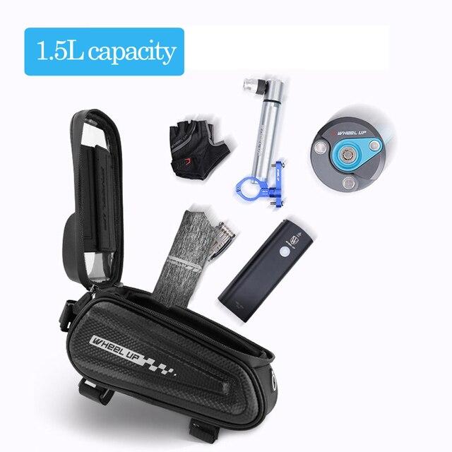 Newboler bolsa de ciclismo à prova de chuva, estojo para celular, touch screen, mtb, acessórios de bicicleta, para cano superior, refletor 5
