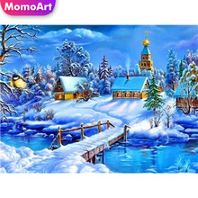 MomoArt 5D Diamond Painting Winter Landscape Full Drill Square Rhinestone Embroidery Cross Stitch Handwork Room Decoration
