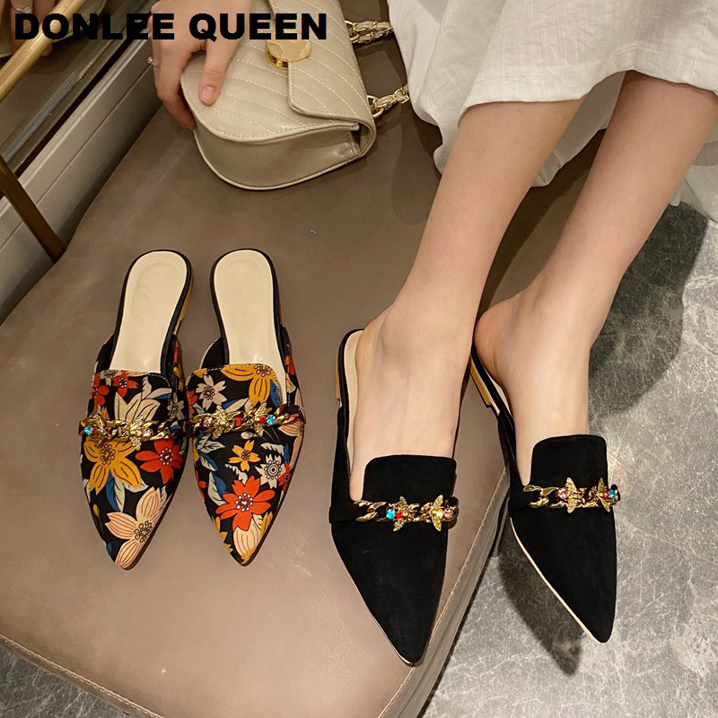 New Women Slippers Pointed Toe Rubber Metal Chains Flat Outsole Slides Footwear Fashion Casual Lady Mules Shoes Zapatos De Mujer