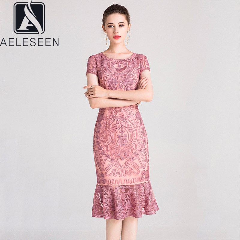 AELESEEN Mermaid Dresses Plus Size Pretty Flower Embroidery Sexy Summer Dresses Pink Gray Navy Blue Red Ruffles Party Dress