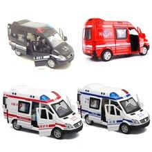 Modelo de coche de policía de ambulancia para niños, escala 1:32, aleación fundida, luz de sonido extraíble de Metal, coches de juguetes para niños, camión de bomberos, regalo para niños