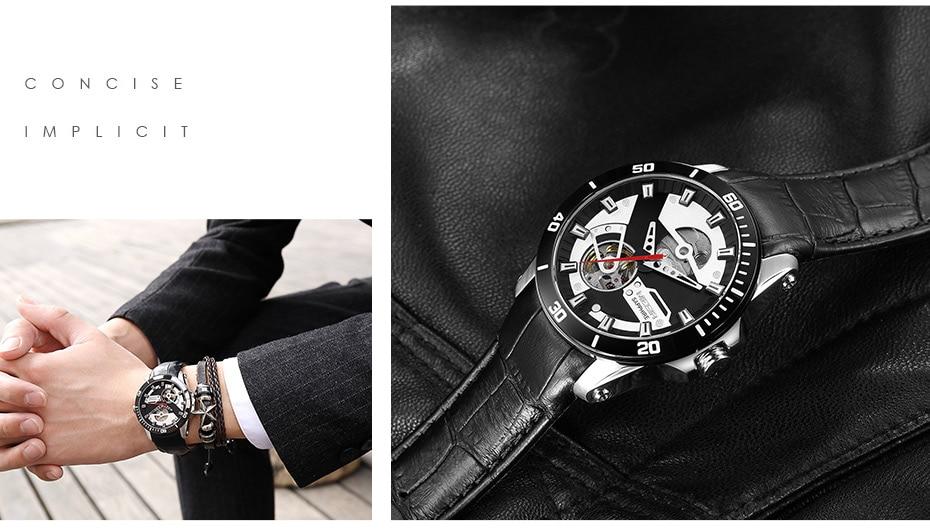 H3165884788784d119deda3d9adb6d3aau MEGIR Men Mechanical Wristwatches Leather Strap Automatic Mechanical