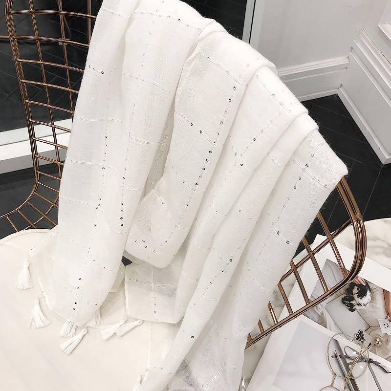 2020 New White Sequin Tassel Pure Cotton Hemp Scarf Women's Art Summer Spring Summer Autumn Shawl Women's Headscarf Silk Scarf