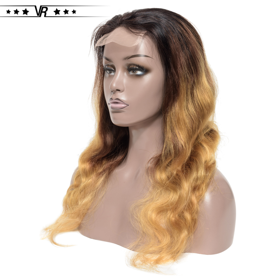 VR Star Ombre Human Hair Wigs 130%-200% Density 4x4 Body Wave 1B/4/27 Color 100% Branzilian Human Hair