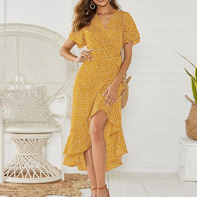 Summer Beach Maxi Dress Women Floral Print Boho Long Chiffon Dress Ruffles Wrap Casual V-Neck Split Sexy Party Dress Robe 3