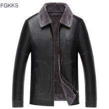 FGKKS veste en cuir pour homme, hiver vestes en cuir synthétique polyuréthane, col en fourrure pour homme, Business décontracté vêtements de marque