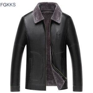 Image 1 - Fgkks jaquetas de couro do plutônio dos homens inverno nova gola de pele jaqueta de couro masculino negócios casuais casacos de couro roupas da marca