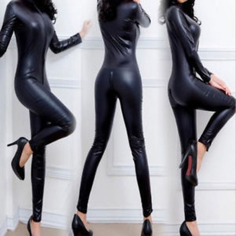 Zogaa New Arrival Sexy Leather Jumpsuit Women Crotchless Bosysuit Latex Bodysuit Costumes Clothing Catsuits Cat Suits Pole Dance