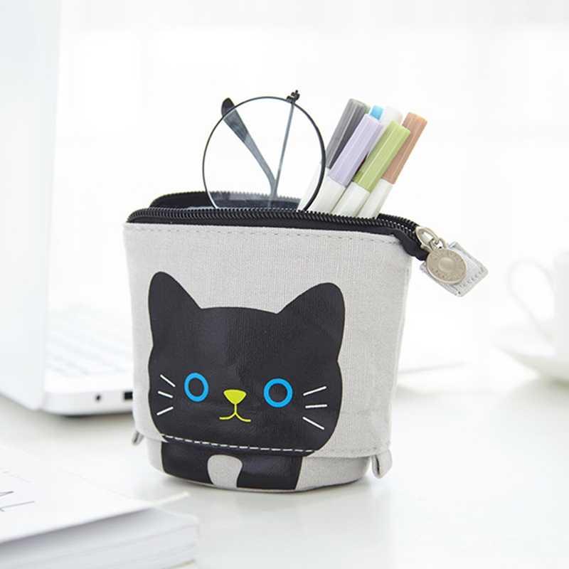 Kawaii grande capacidade retrátil lápis caso de armazenamento caneta titular material escolar papelaria cosméticos organizador maquiagem saco