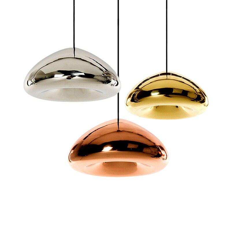 Nordic Postmodern Chrome Pendant light Golden Red Bronze Glass Pendant Lamp 110-240V E27 For Living Bedroom Dining