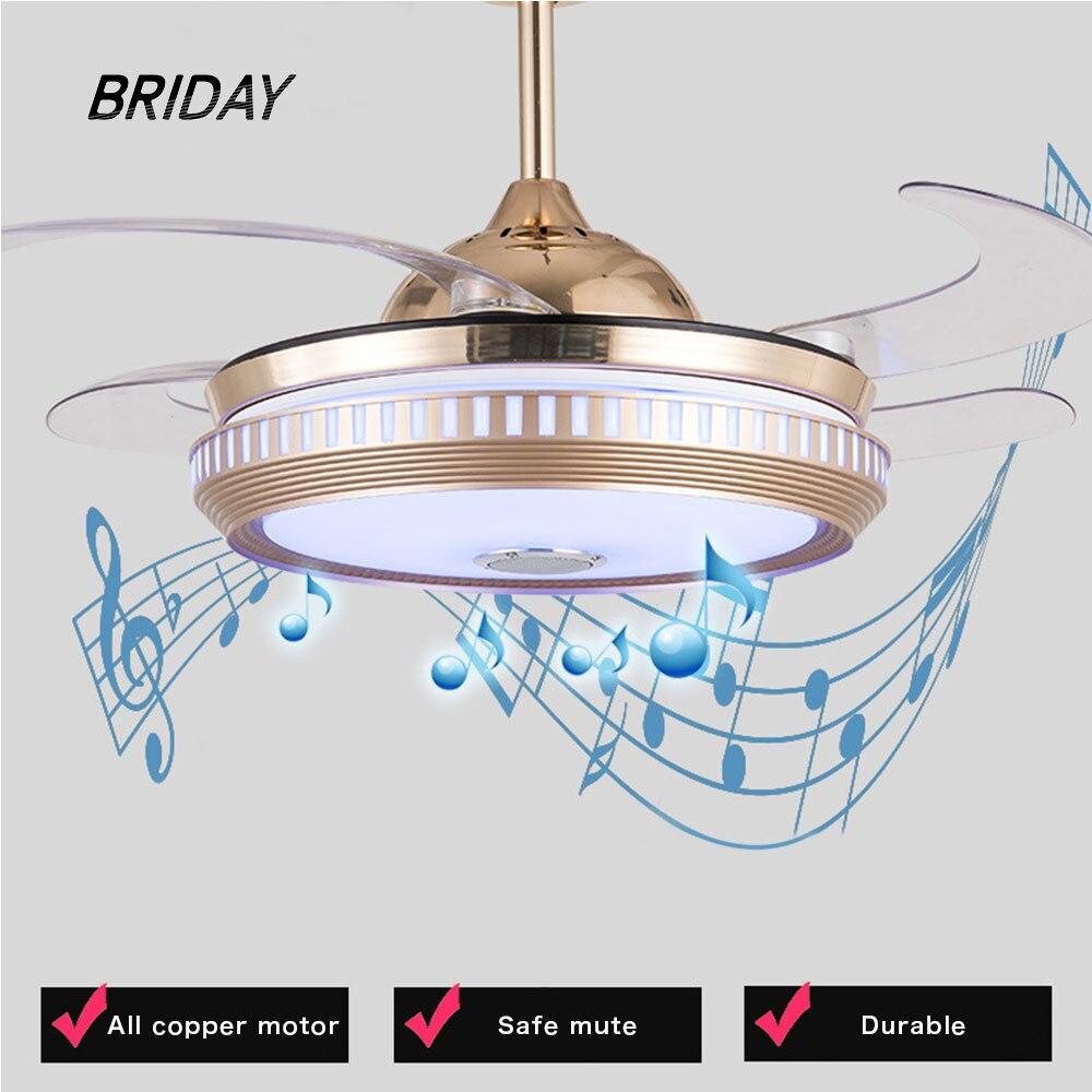 Потолочный вентилятор, музыка, умное приложение, невидимая светодиодная лампа, Bluetooth, аудио вентиляторы, лампы с пультом дистанционного упр...